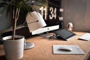 desk computer plant